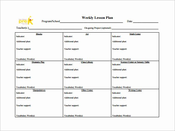 Weekly Lesson Plan Template Pdf Beautiful Weekly Lesson Plan Template 9 Free Word Excel Pdf