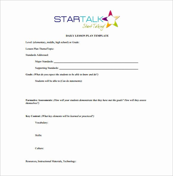 Weekly Lesson Plan Template Word Awesome Daily Lesson Plan Template 14 Free Pdf Word format