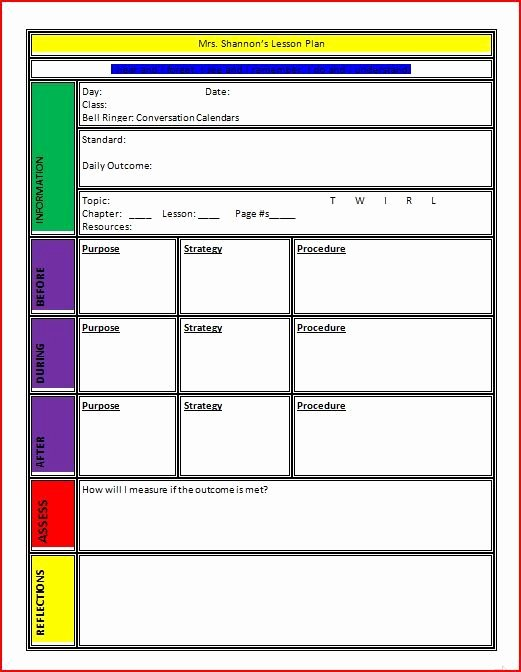 Weekly Lesson Plan Template Word New Lesson Plan Template Classroom Management