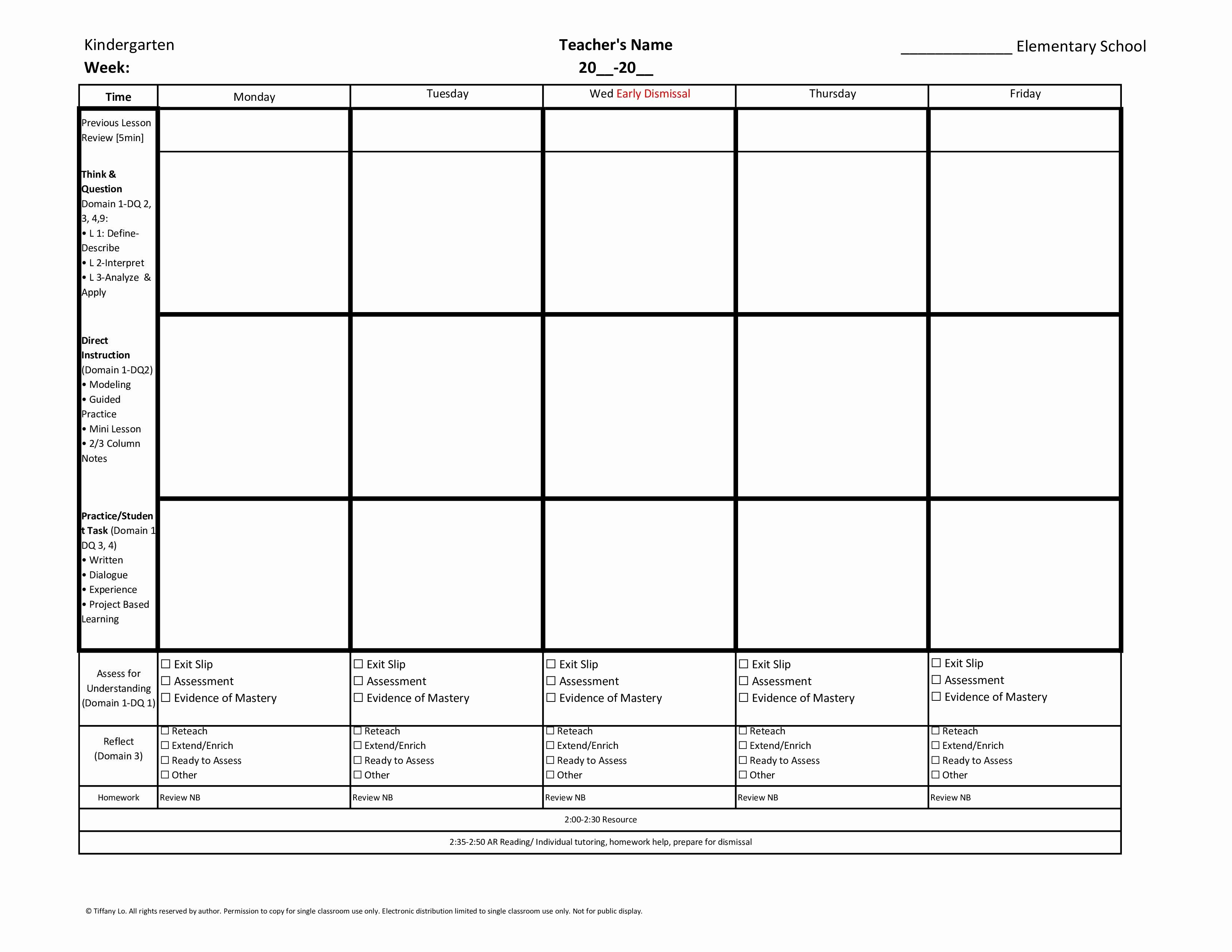 Weekly Lesson Plan Templates Awesome Kindergarten Mon Core Weekly Lesson Plan Template W