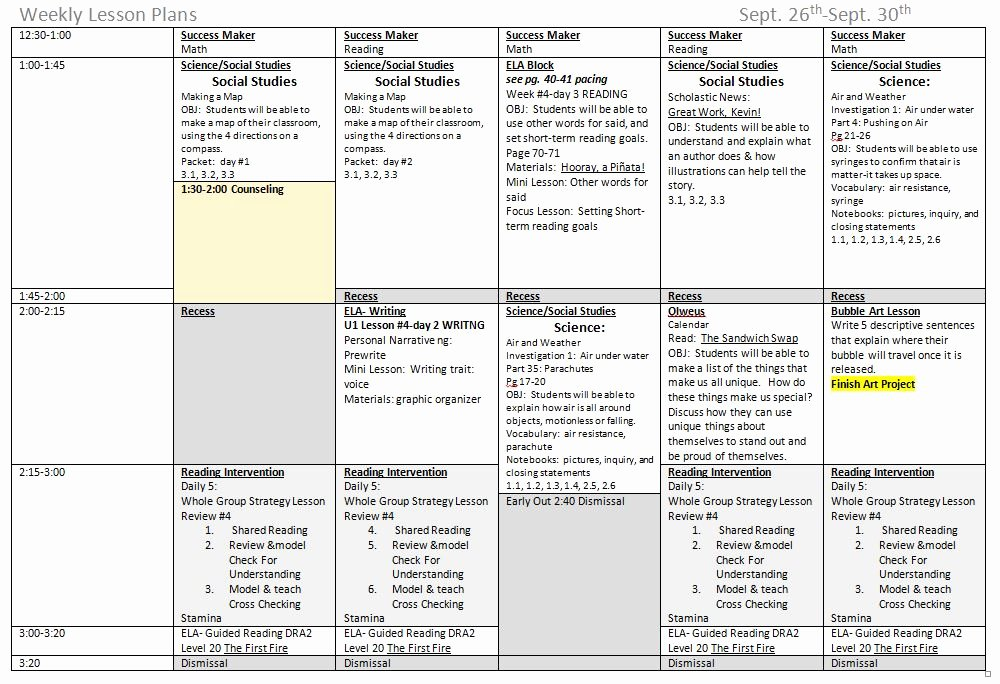 Weekly Lesson Plan Templates Best Of 5 Ponents to A Great Weekly Lesson Plan