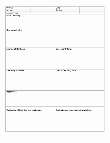 Weekly Lesson Plan Templates Elementary Awesome Blank 8 Step Lesson Plan Template by Kristopherc