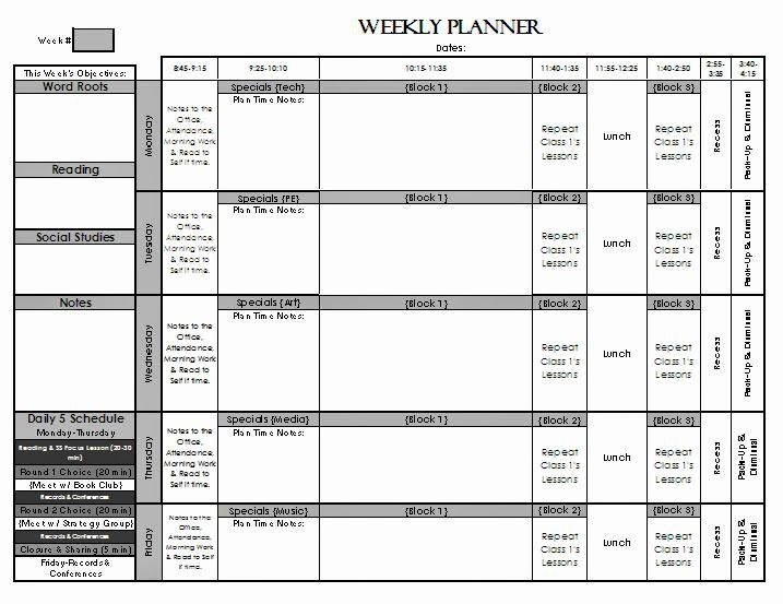 Weekly Lesson Plan Templates Elementary Elegant Check Out My Weekly Lesson Planning Page Templates for