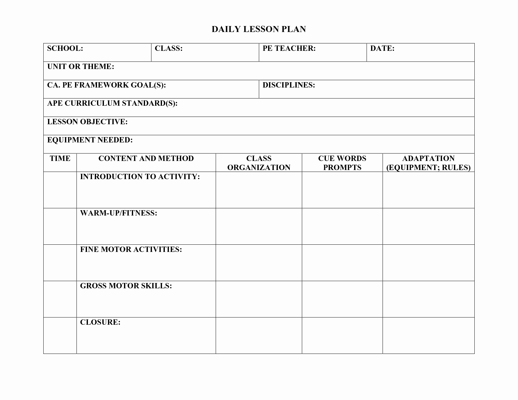 Weekly Lesson Plan Templates Elementary Elegant Pe Lesson Plan Template Education