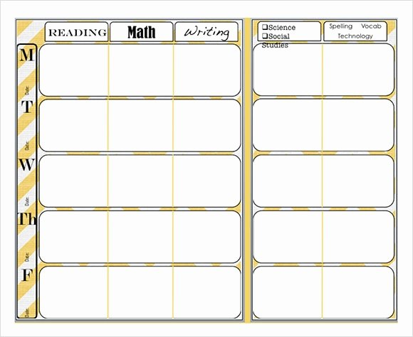Weekly Lesson Plan Templates Elementary Fresh Free 7 Sample Weekly Lesson Plans In Google Docs