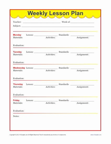 Weekly Lesson Plan Templates Elementary Fresh Weekly Detailed Lesson Plan Template Elementary