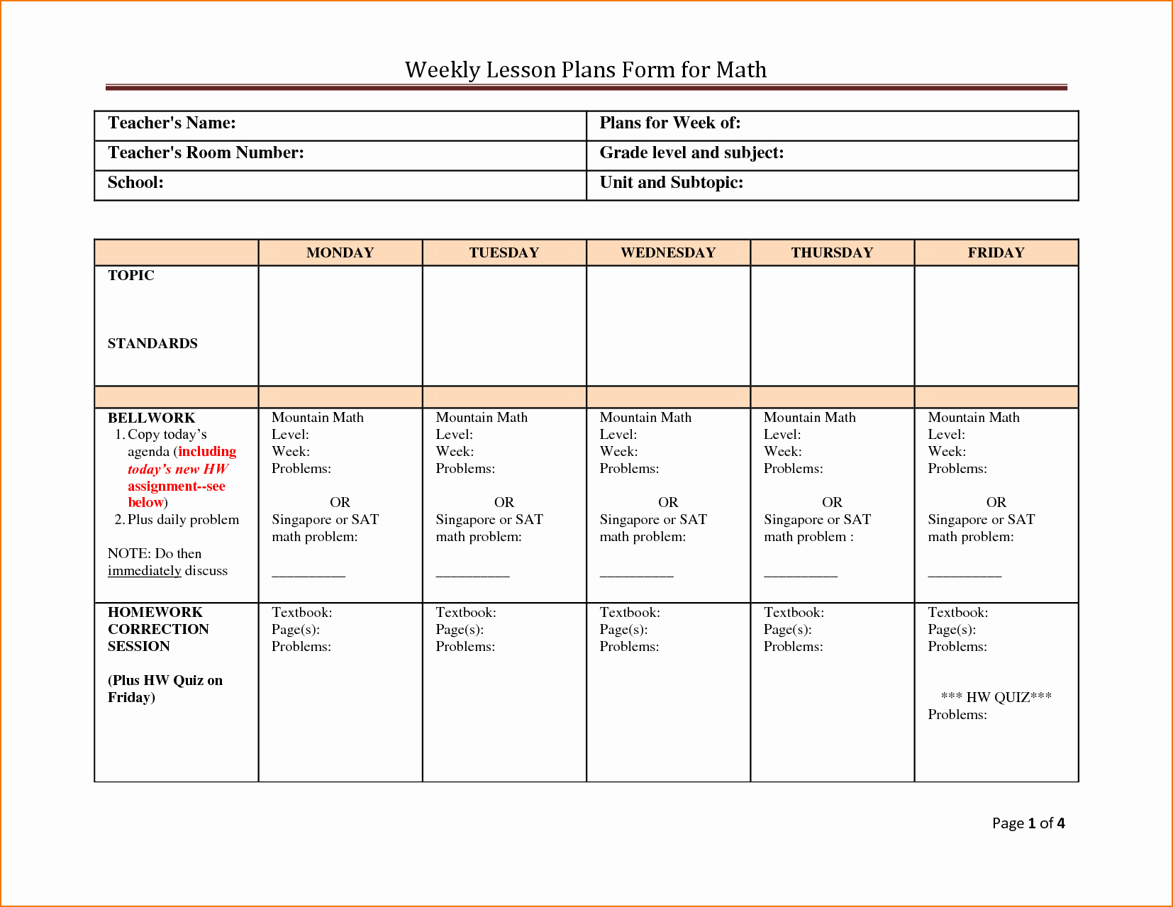 Weekly Lesson Plan Templates Elementary Inspirational 5 Weekly Lesson Plan Template