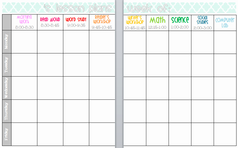 Weekly Lesson Plan Templates Elementary Lovely Elementary organization Two Updated Lesson Plan Templates