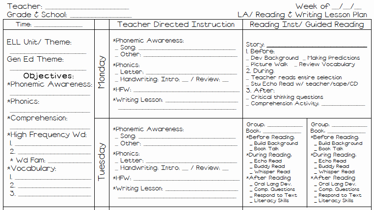 Weekly Lesson Plan Templates Elementary New A Teacher S Plan M S Kinder Plans