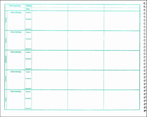 Weekly Lesson Plan Templates Elementary New Lesson Plan Book Template Printable