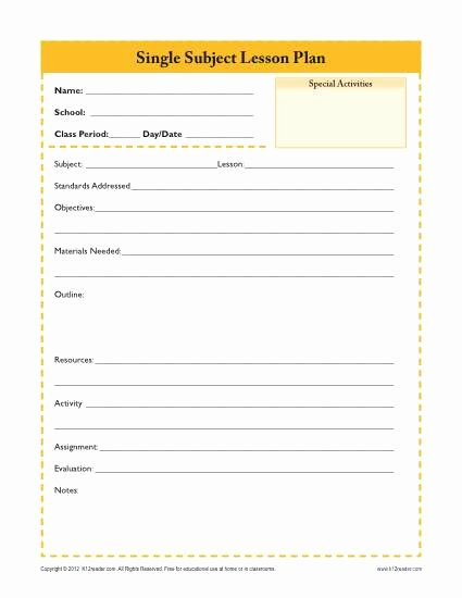 Weekly Lesson Plan Templates Elementary Unique Daily Single Subject Lesson Plan Template Secondary