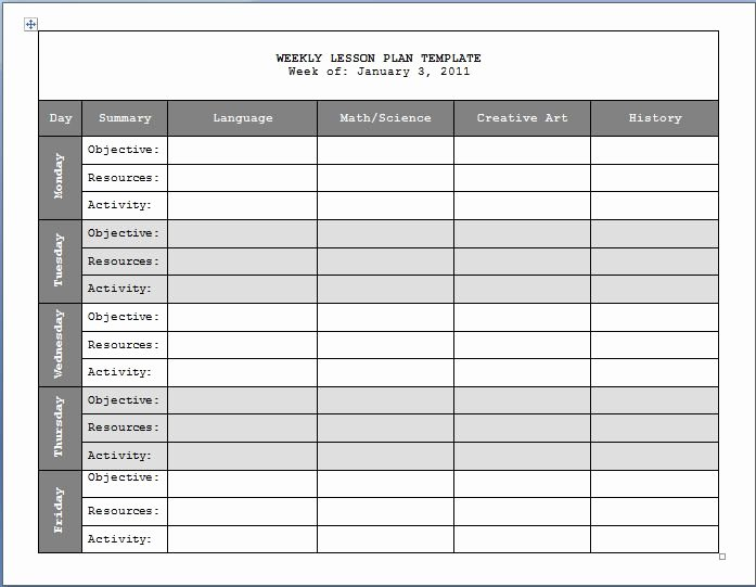 Weekly Lesson Plan Templates Fresh 17 Best Images About Lesson Plan Templates On Pinterest