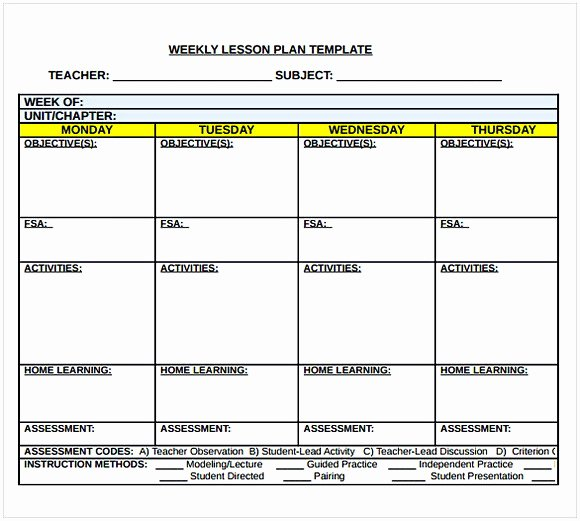 Weekly Lesson Plan Templates Lovely Middle School Lesson Plan Template