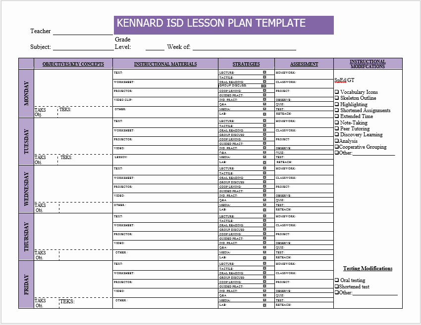 Weekly Lesson Plan Templates Unique Weekly Lesson Plan Templates 2 Free Templates Word