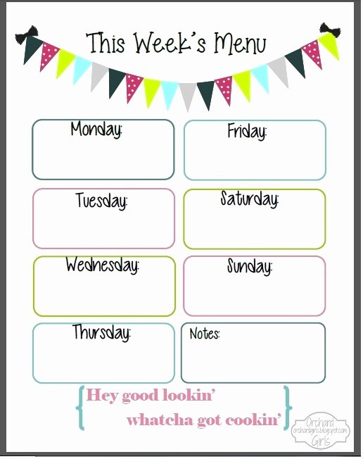 Weekly Menu Template Word Best Of Weekly Menu Template