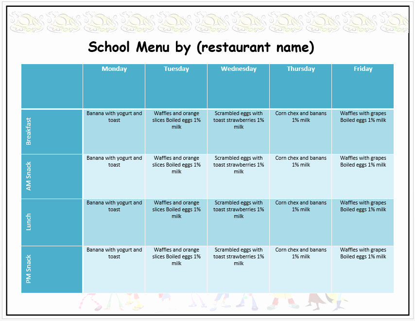 Weekly Menu Template Word Elegant Weekly School Menu Template Word Templates