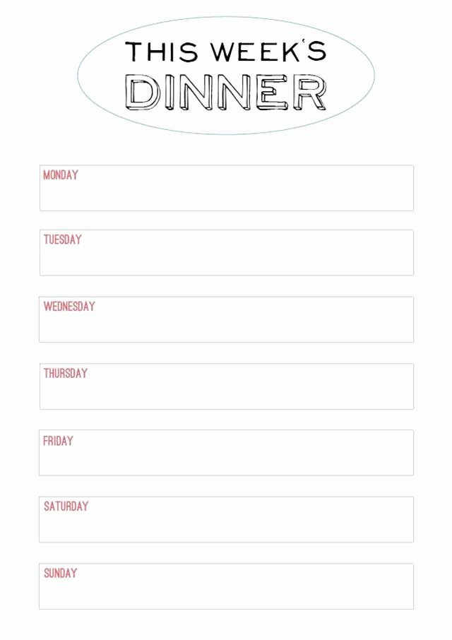 Weekly Menu Template Word Inspirational Printable Menu Template to Make the Planning Of Next