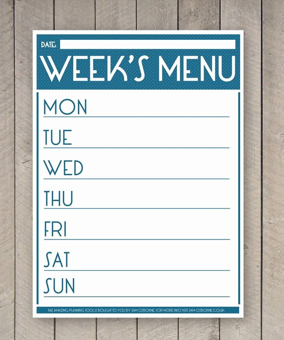 Weekly Menu Template Word Lovely Printable Menu Planner Weekly Food Family organizer Chart
