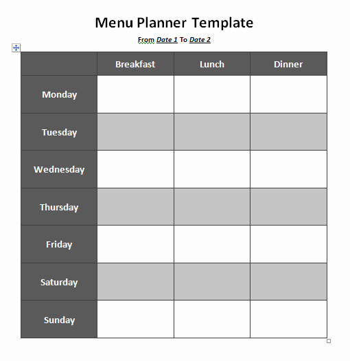 Weekly Menu Template Word Luxury Menu Planner Template 8 Free Printable Templates Word