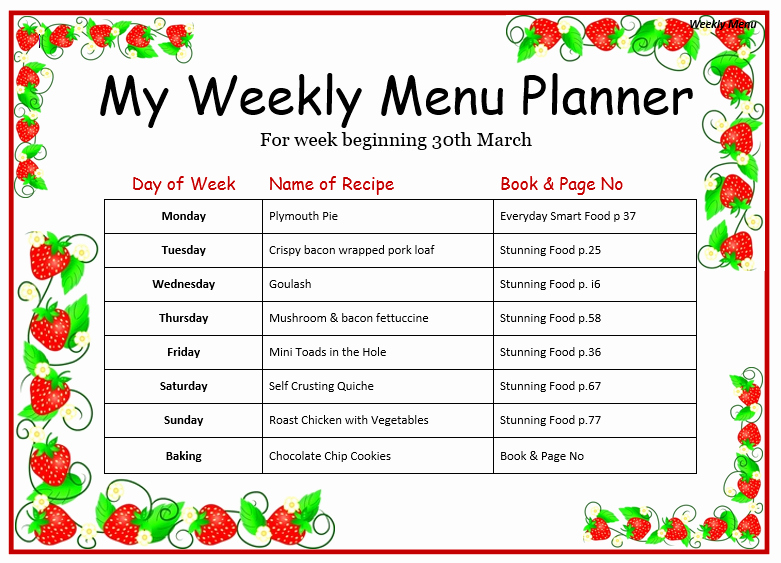 Weekly Menu Template Word Luxury Weekly Menu Template for Home Word Templates