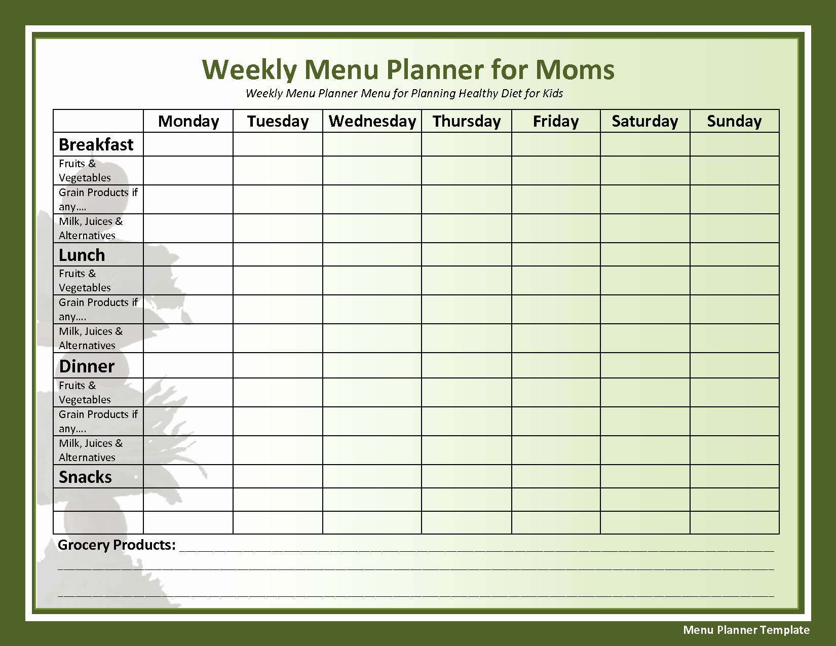 Weekly Menu Template Word Luxury Weekly Menu Template