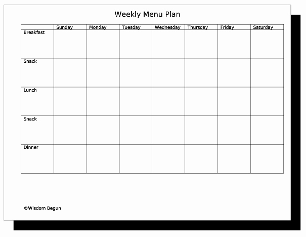 Weekly Menu Template Word Unique Free Menu Planner Template Clipart Best