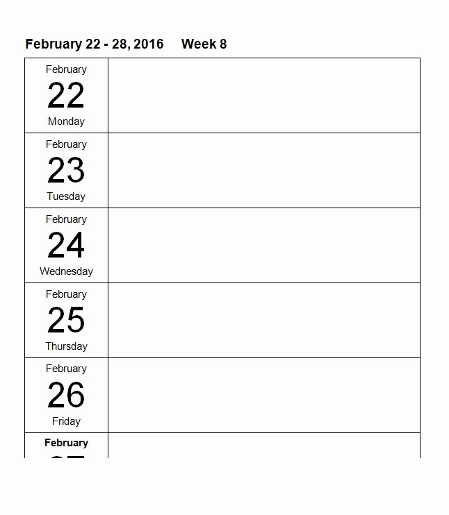 Weekly Schedule Template Pdf Awesome 26 Blank Weekly Calendar Templates [pdf Excel Word]