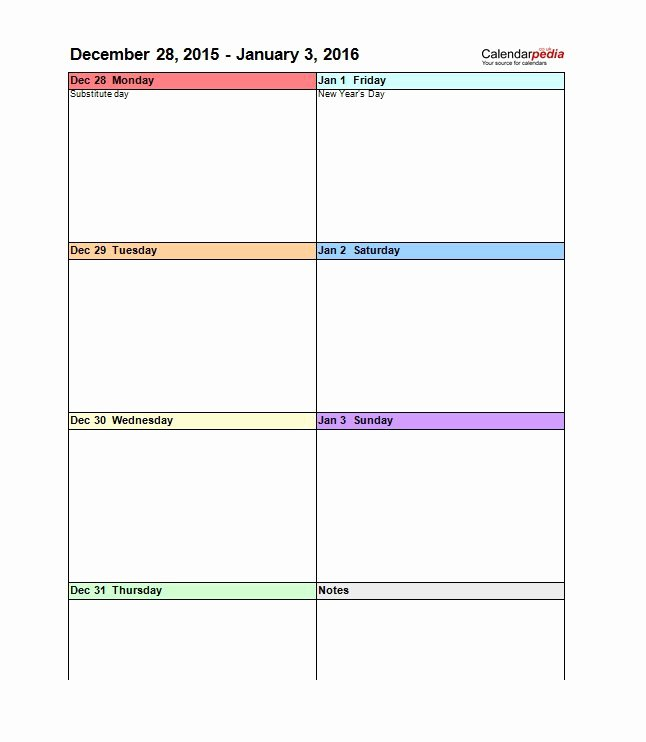 Weekly Schedule Template Pdf Inspirational 26 Blank Weekly Calendar Templates [pdf Excel Word]