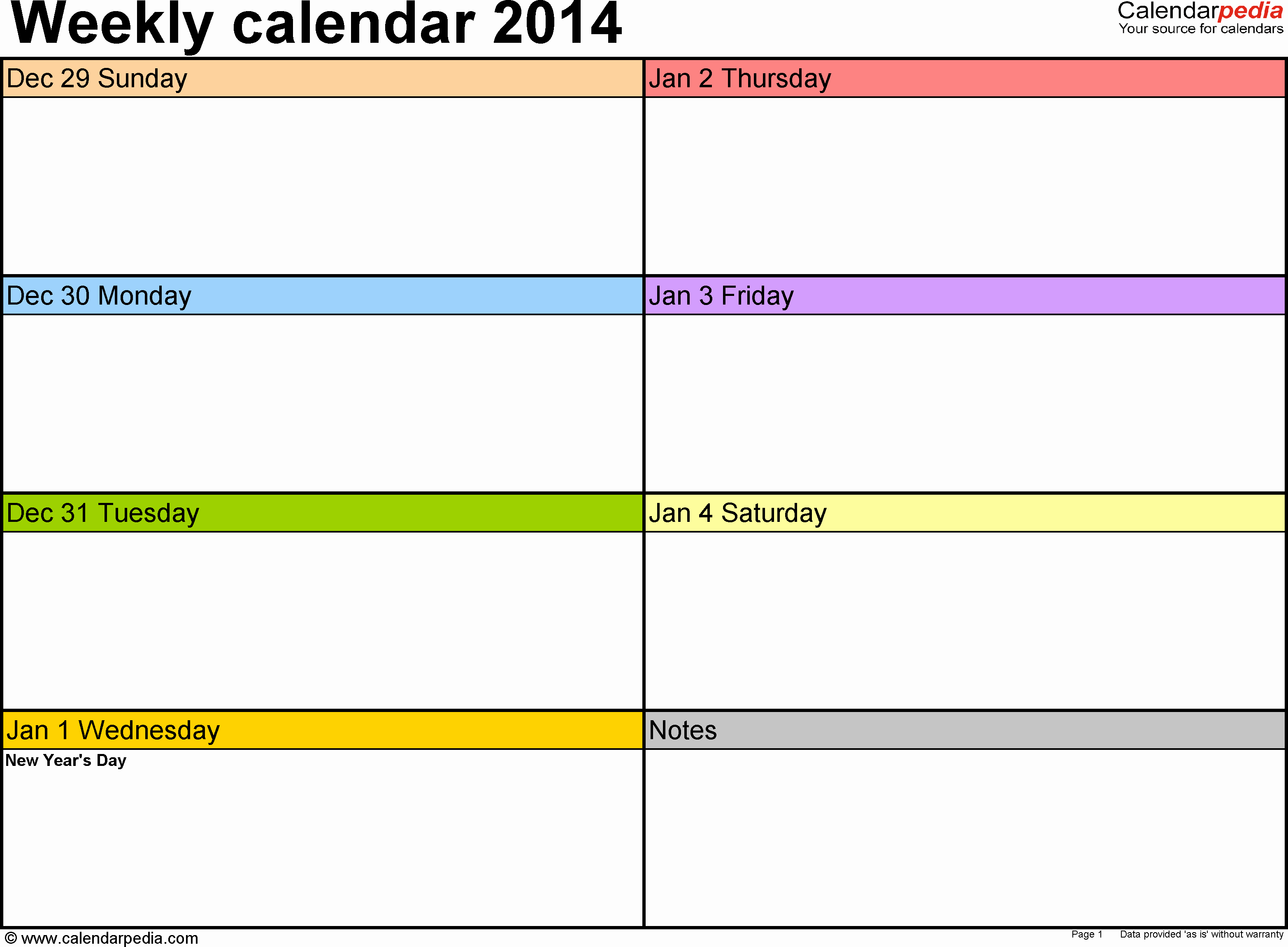 Weekly Schedule Template Pdf Unique Weekly Calendar 2014 for Pdf 4 Free Printable Templates