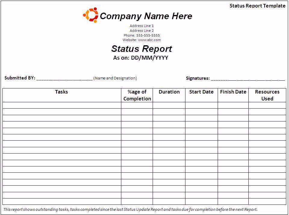 Weekly Status Report Template Word Awesome Report Templates