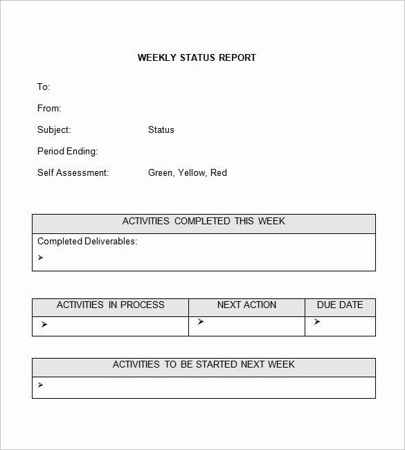 Weekly Status Report Template Word Elegant Weekly Status Report Templates 30 Free Documents