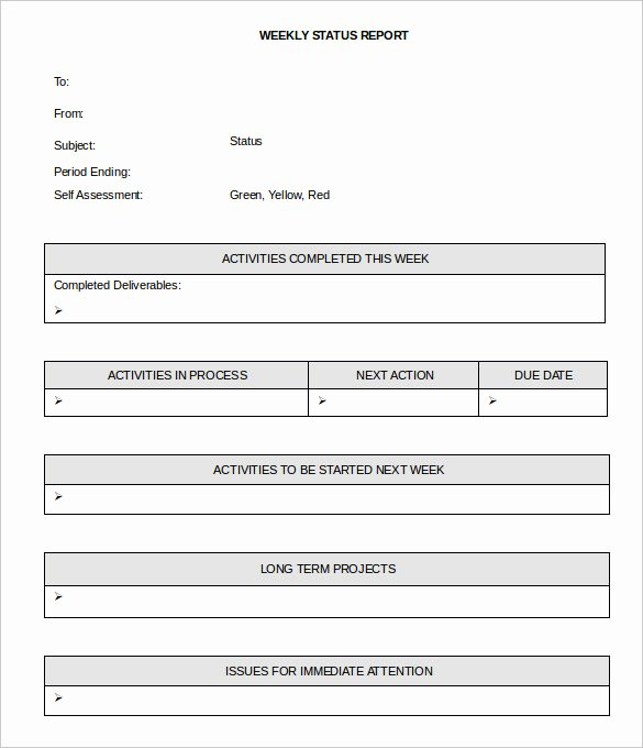 Weekly Status Report Template Word Fresh 36 Weekly Activity Report Templates Pdf Doc
