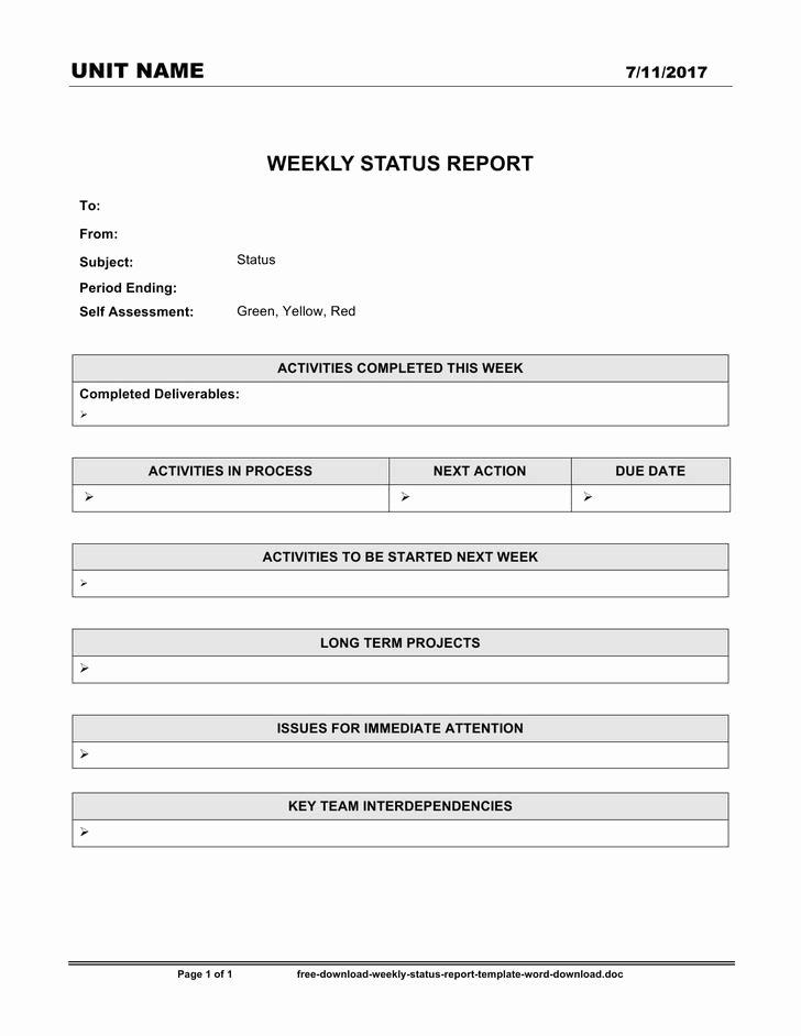 Weekly Status Report Template Word Inspirational 13 Weekly Status Report Template Free Download
