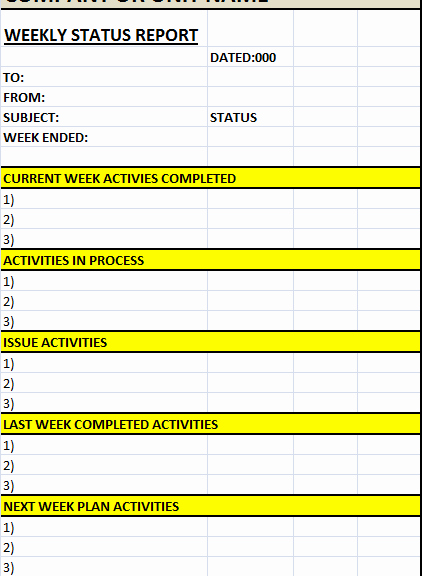 Weekly Status Report Template Word Luxury Weekly Status Report Template – Excel Word Templates