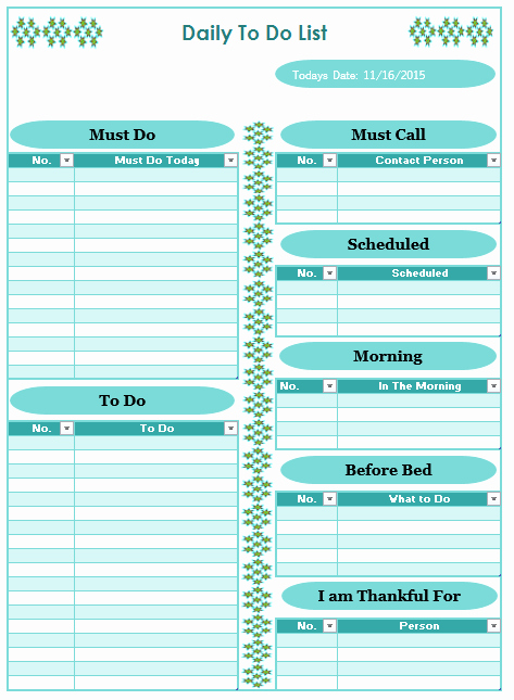 Weekly to Do List Template Fresh Daily to Do List Template Blue Layouts