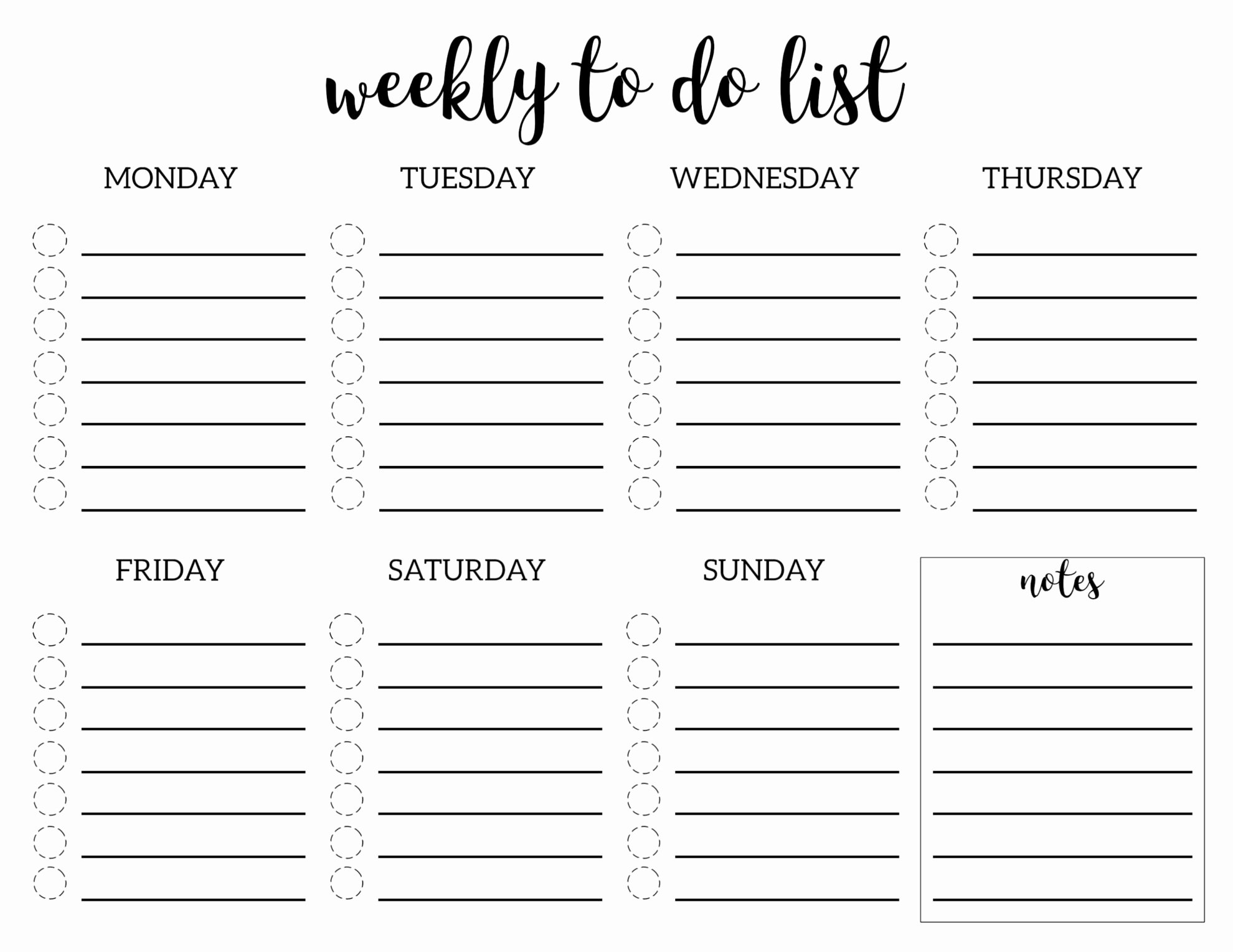 Weekly to Do List Template Luxury Weekly to Do List Printable Checklist Template Paper