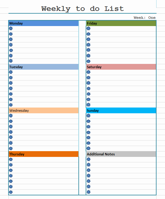 Weekly to Do List Template Luxury Weekly to Do List Template Blue Layouts