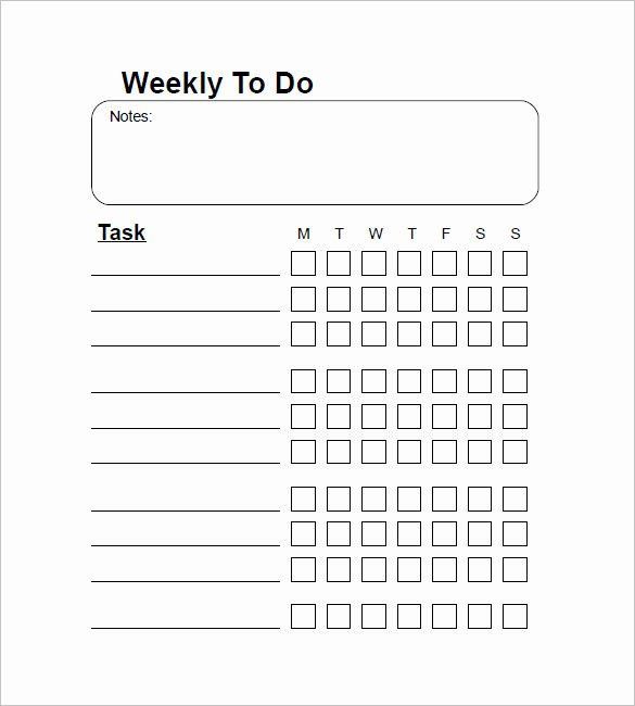 Weekly to Do List Template New Weekly to Do List Template 6 Free Word Excel Pdf