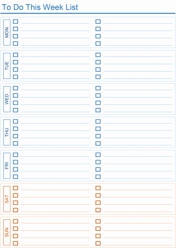 Weekly to Do List Templates Unique Daily to Do List Templates for Excel