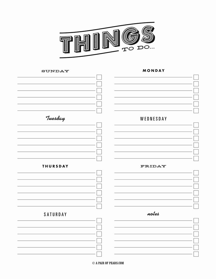 Weekly to Do List Templates Unique Things to Do Template Pdf Fancy to Do List