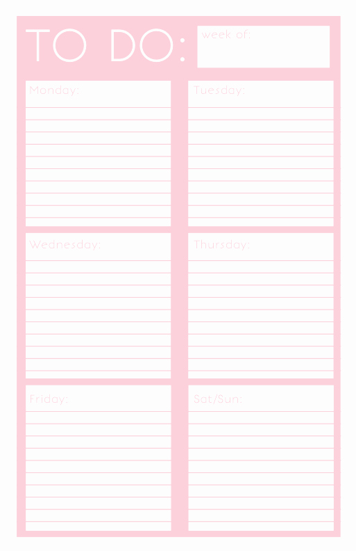 Weekly todo List Template Beautiful 40 Printable to Do List Templates