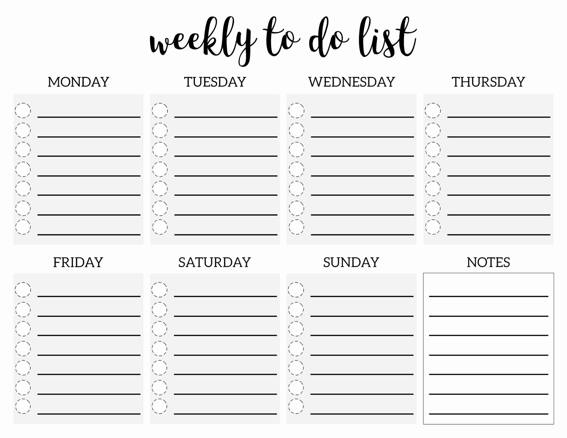 Weekly todo List Template Best Of Weekly to Do List Printable Checklist Template Paper