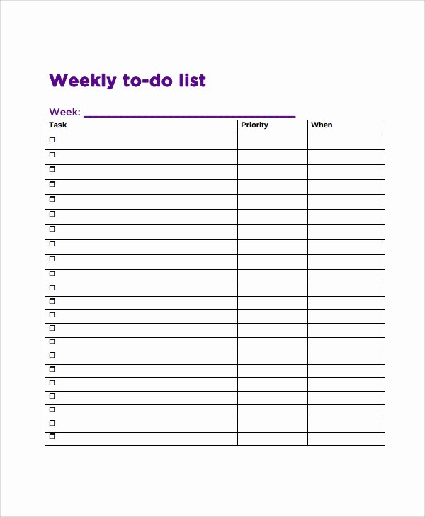 Weekly todo List Template Elegant Sample Weekly to Do List Template 8 Free Documents