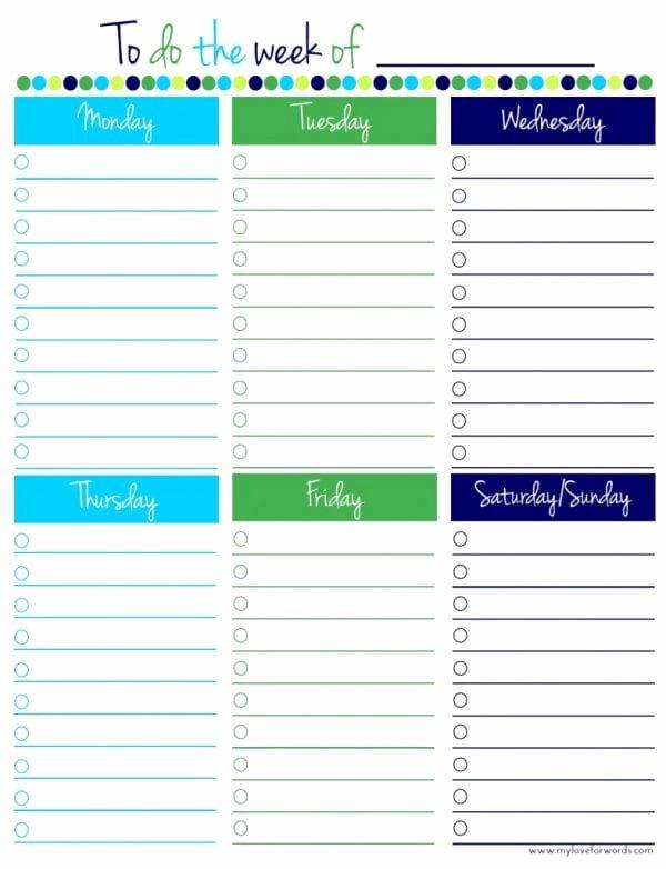 Weekly todo List Template Fresh Remodelaholic