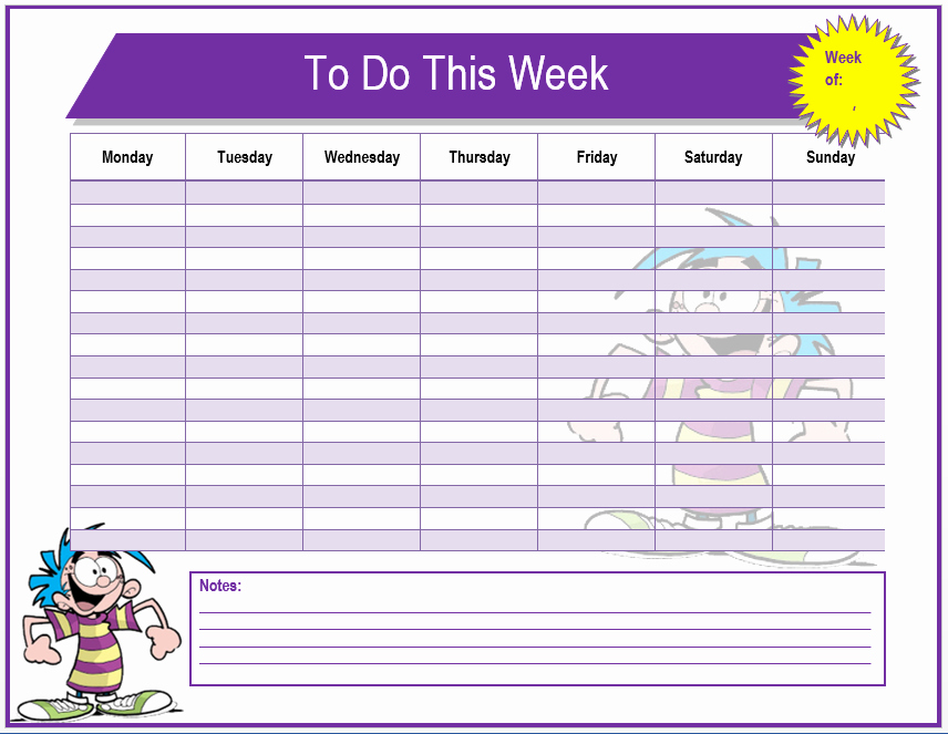 Weekly todo List Template Fresh Weekly to Do List Template Microsoft Word Templates
