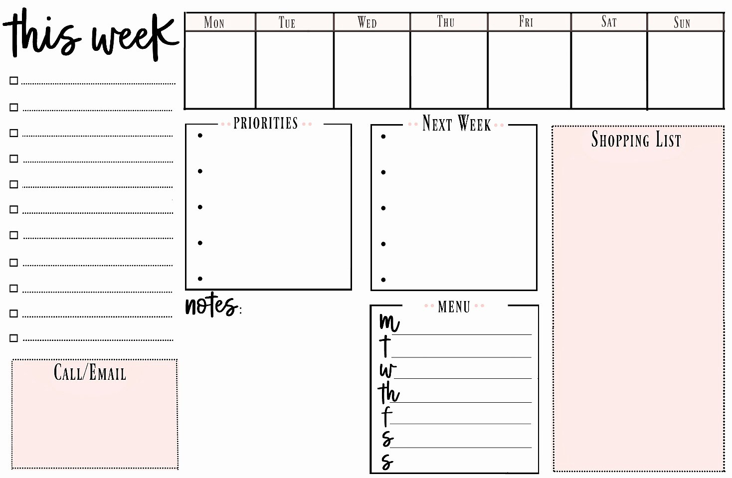 weekly printable to do list for ting organized