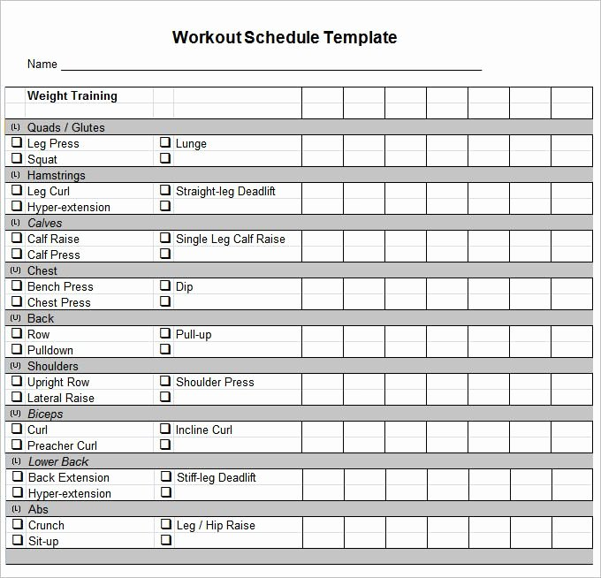 Weekly Workout Schedule Template Awesome Workout Schedule Template 10 Free Word Excel Pdf