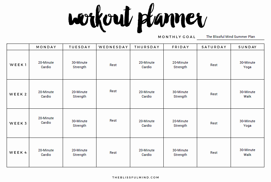 Weekly Workout Schedule Template Best Of My Summer Workout Routine the Blissful Mind
