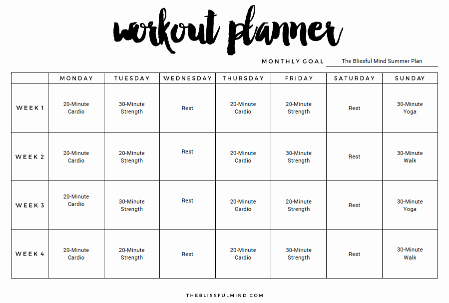 Weekly Workout Schedule Template Fresh 9 Excel Workout Templates Excel Templates