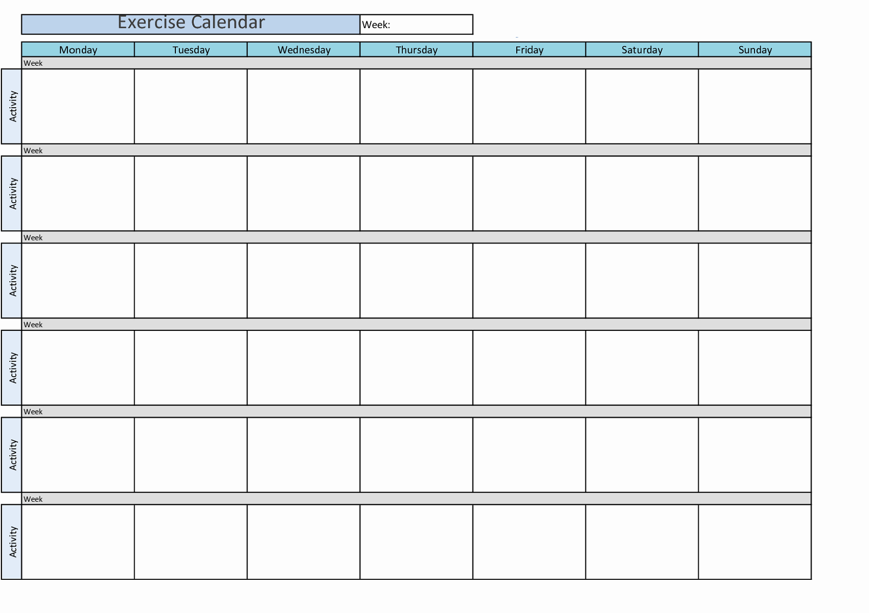 Weekly Workout Schedule Template Luxury Printable Workout Calendar